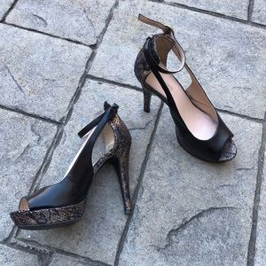 Nine West Gold Snake Print Platform Heels